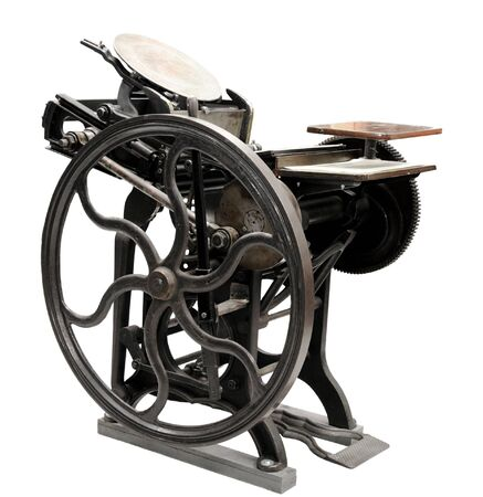 antique black letterpress restored to working condition, isolated on white Stock Photo