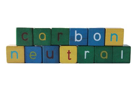 carbon neutral: the phrase carbon neutral isolated on white Stock Photo