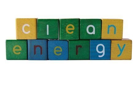 """phrases: la frase """"energ�a limpia"""" aislados en blanco"""