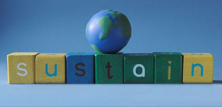 sustain: the word sustain with a simple globe on top