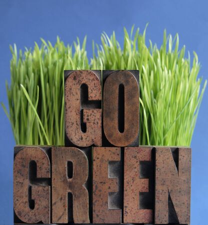 go green: the words go green in letterpress wood letters against fresh green grass