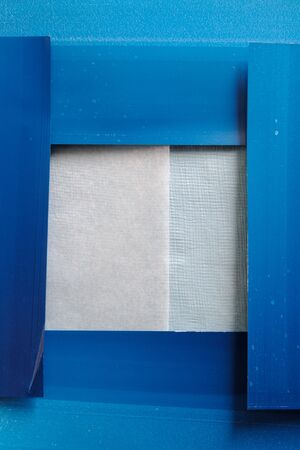collage of printer blotting paper with textured papers