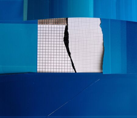 bordered: two sizes of graphs bordered by blue blotting papers Stock Photo