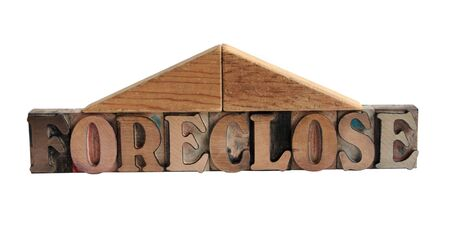 foreclose: the word foreclose with two block shapes making a roof