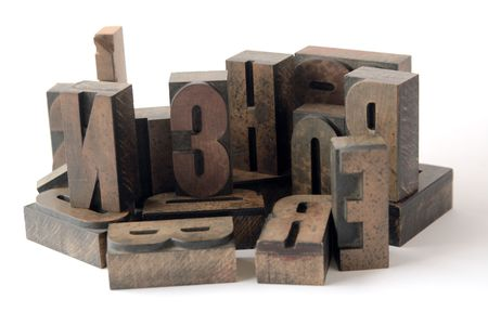 arrangement of ink-stained wood type Stock Photo - 3342862