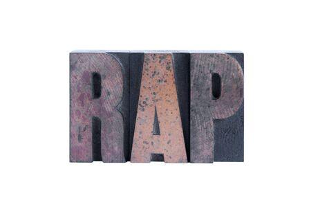 the word rap in letterpress wood type Imagens