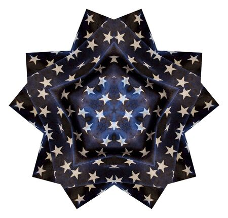 illustration of white stars on larger blue stars