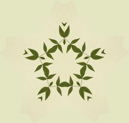 대칭 배열에 나뭇잎의 그림