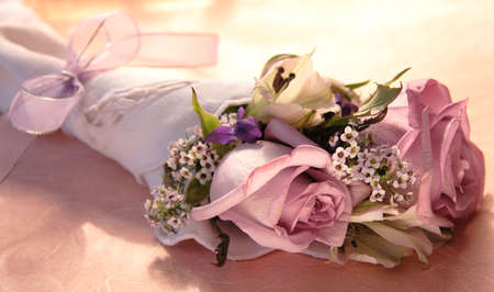 violets: bouquet of roses, alstroemeria, alyssum and violets tied with a lavender ribbon