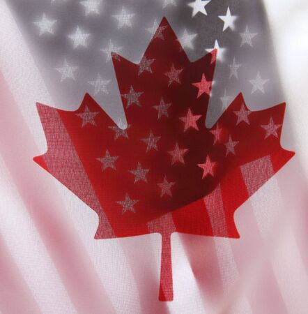 backlit flags of Canada and the USA