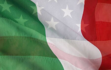 USA flag layered over an Italian flag Banque d'images