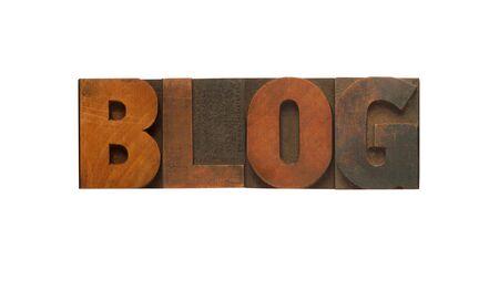 letterpress letters: the word blog in letterpress wood letters