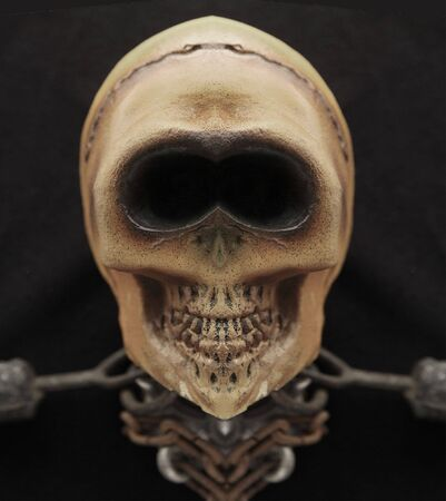 eye sockets: symmetrical skull with a big smile and a body of chains