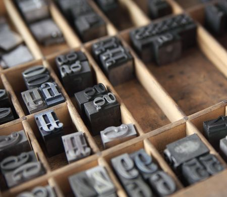 letterpress lead type in a wood type case