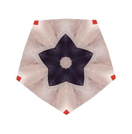 Stella blu su un'illustrazione bianca del tessuto del pentagono Archivio Fotografico - 6870233