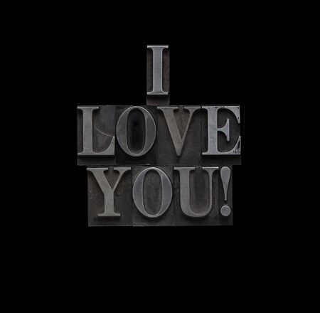 the words I love you in letterpress lead type photo