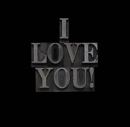 the words I love you in letterpress lead type Фото со стока