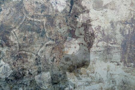 scratches: grunge background with machinery parts, scratches and rust