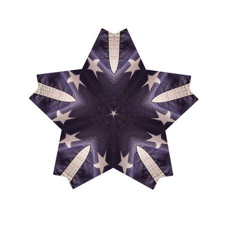 별과 파란색과 흰색 미사일 모양의 그림