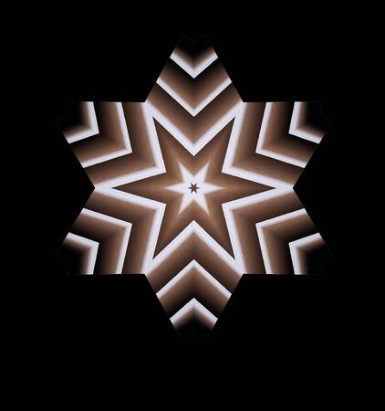 갈색의 그라데이션에 6 양면 별의 그림 스톡 콘텐츠