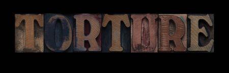 古い活版木材の種類の単語苦悶