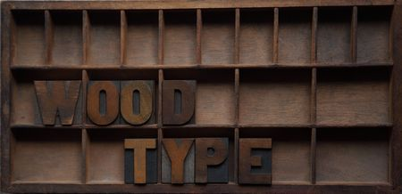 the words wood type in an old type case Stock Photo - 6870297