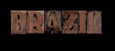 the word Brazil in old letterpress wood type Zdjęcie Seryjne