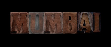 the word Mumbai in old letterpress wood type