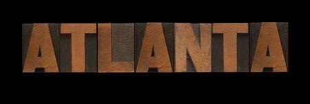 letterpress letters: the word Atlanta in old letterpress wood type