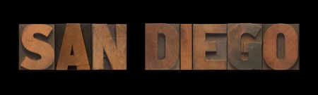 the words San Diego in old letterpress wood type Stock Photo - 7909399