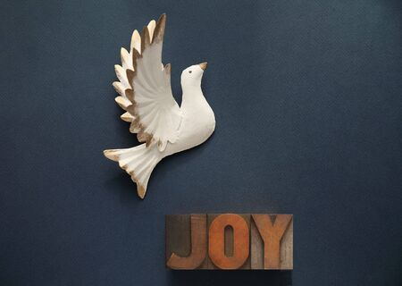 dove against a dark blue background with the word joy in old wood type Stock Photo