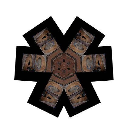 six-point illustration using wood letterpress letters Stock Illustration - 8341996