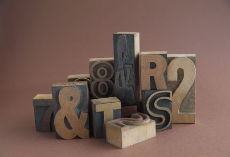 letterpress letters: grouping of letterpress wood letters, numbers and symbols Stock Photo