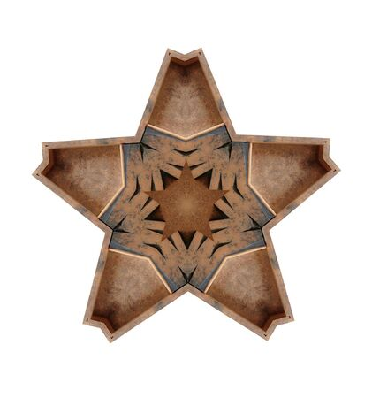 five-point star illustration with the letter M in wood Stock Illustration - 8342003