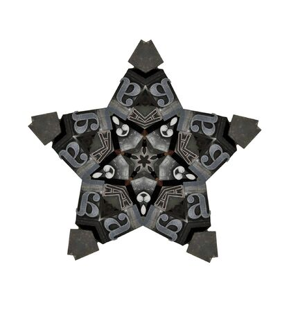 five-point stars of metal type in gray and black Stock Photo - 8341995