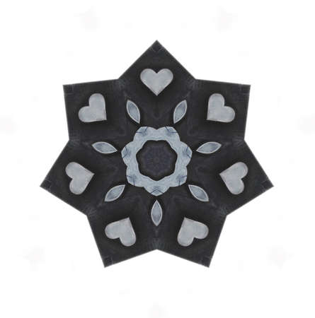 별 모양의 밝은 회색 하트
