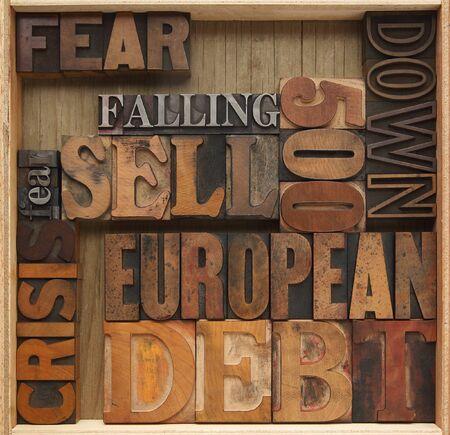 words related to European economic debt problems Banco de Imagens