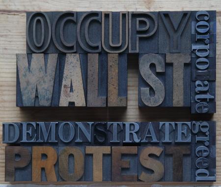 Mots associés à l'occupation de Wall Street mouvement Banque d'images - 11024130