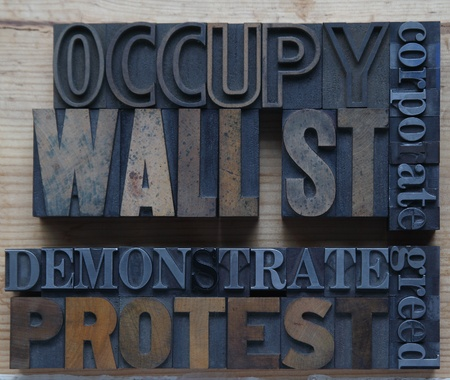 occupy movement: words associated with the Occupy Wall St. movement