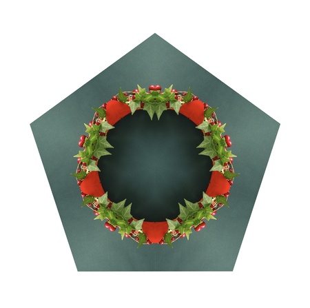 computer-generated illustration of familiar holiday symbols in a pentagon shape 版權商用圖片