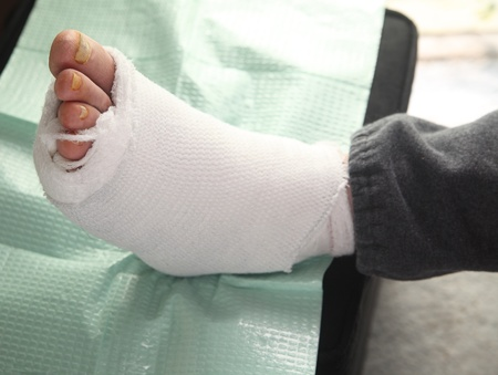 bandaged infected foot of a diabetic