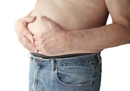 ulc�re: un homme tient sa r�gion de l'estomac � deux mains Banque d'images