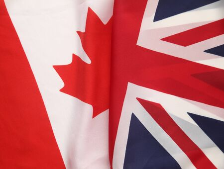 a section of the flag of Canada juxtaposed with part of the UK flag