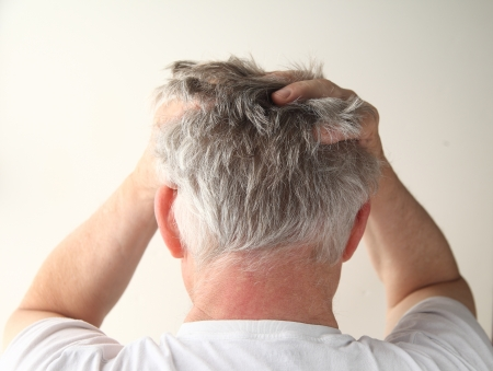 rear view of a man showing negative feelings Banque d'images