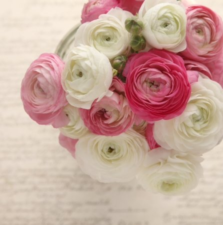 bouquet of spring flowers in pinks and white on an old script handwriting background
