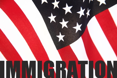 u s  flag: the word  immigration  on a U S  flag Stock Photo