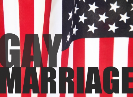 a USA flag with the words  gay marriage  Stock Photo