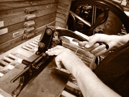 wood cutter: Printer using vintage metal cutter