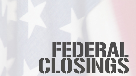 current events: American flag with the words federal closings