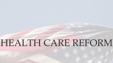 アメリカ国旗の言葉の医療制度の改革 写真素材